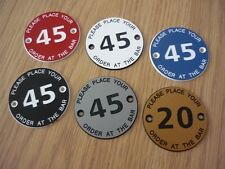 1 (one) x PLACE YOUR ORDER AT BAR - 50mm Table number discs - Pubs Clubs etc.