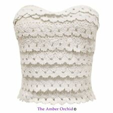 NEW WOMENS LADIES KNITTED OFF SHOULDER STRAPLESS CORSET BASQUE LACE BODICE TOP