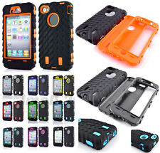 3 in 1 High Impact Rugged Combo Defender Tyre Armor Case for iPhone 4 4S 5 5S 5C