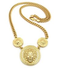 """New Three MEDUSA FACE Pendant w/8mm 30"""" Cuban Link Chain Necklace FRC398"""