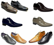 Men Italian Designer Voeut Shoes Leather Look Shiny Pointed Lace Up & Slip On