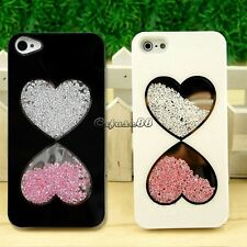 Bling Love Heart Rhinestone Hard Crystal Case Cover Skin For iPhone 5 5S CaF8