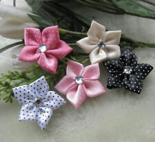 40pcs ribbon flower with stone Appliques wedding DIY craft Lots Mix U pick E156