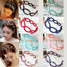 NEW Women Fashion Floral Hollow Out Braided Headband Hair Band Elastic Hairband