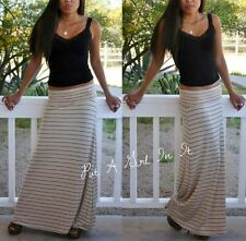 FOLD OVER WAIST TAUPE BLACK STRIPED LONG MAXI KNIT SKIRT NAUTICAL BEACH S M L
