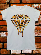 Leopard Dripping Diamond Funny Swag Hipster Dope White Women Top T-Shirt