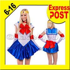 Sailor Moon Costume Cosplay Serena Blue Fancy Dress Gloves & Tiara  5 sizes