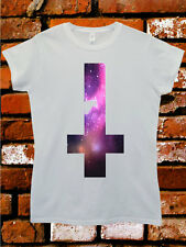 Inverted Cross Galaxy Tumblr Funny Fashion Hipster White Women Top T-Shirt