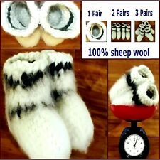 Sz 7-8 US WOOLEN KNITTED White Warm SOCKS HANDMADE Russian Chuni Sheep Wool 100%