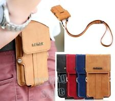 PU Leather Cards Pouch Satchel Bag Belt Holster Flip Case Cover for Cell Phone