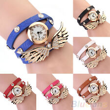 Women's Charm Vintage Angel Wings Pendant Leather Bracelet Quartz Wrist Watch