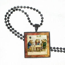 """Pigs Playing Poker on Crystal Pendant w 24"""" Matchng Ball Chain"""