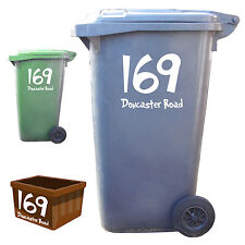 3 x Wheelie Bin Numbers Custom House Number And Street Name Vinyl Sticker Decals