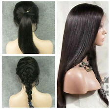 """1B# _ Silky Straight 12"""" _100% Indian Remy Human Hair Full Lace / Front Lace Wig"""
