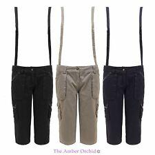 New Womens Dungaree 3/4 Capri Ladies Cargo Pants Short Trousers With Braces