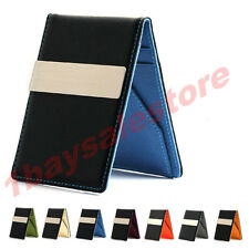 New Fashion Black Faux Leather Money Clip Slim Wallets ID Credit Card Holder
