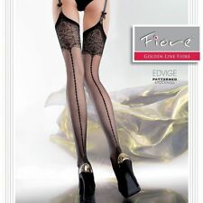 Fiore EDVIGE Patterned Sheer Garter Stockings  Nylons Hosiery FREE SHIPPING