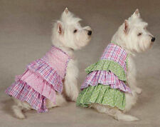 Zack & Zoey Summer Breeze Dog Dresses gingham Seersucker Puppy Dress Green  Pink