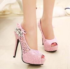 Fashion noble high heeled lace women's rhinestone sandals sexy club party shoes