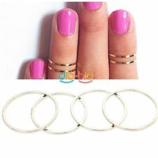 1/4/ 5pcs Gold Silver Stack Plain Cute Above Knuckle Finger Band Midi Ring OCIT