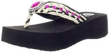 New Women's Yellow Box Shalini Zebra Flip Flops with Pink Rhinestones