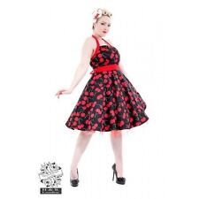 Hearts & Roses Black Dress Red Cherry Dress. Retro Rockabilly Swing 50s Pinup