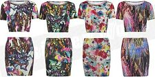 Women Crop Top Skirt Set Cropped Mini Dress Tropical Pattern Colour Feather Neon