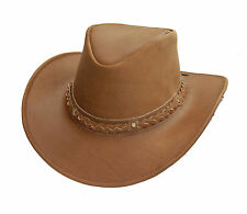 LEATHER COWBOY WESTERN AUSI  STYLE  OUTBACK BUSH HAT