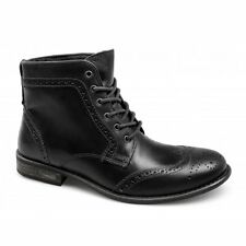 Red Tape NANT Mens Soft Leather Lace Up Brogue Ankle Derby Boots Ford Nero Black