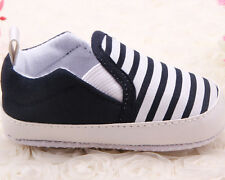 Unisex Kids Shoes Baby Boys Girls Stripe Canvas Sneakers Toddler Slip-On Shoes