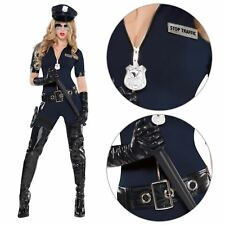 Ladies Police Cop Halloween Costume Fancy Dress Sexy Outfit Officer Catsuit Size