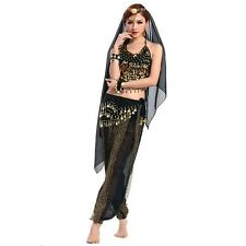 New Fashion Belly Dance Costume Top & Gold Lantern Sequins Pants  8 colors