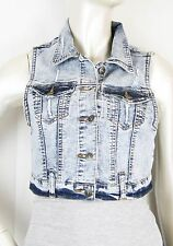 Women Crop Denim Destoy Jean Vest Jacket Acid Wash S/M/L