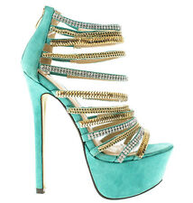 Mint Platform Strappy Jeweled Open toe Stiletto Heels Women's shoes Maniac-11