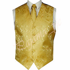 GOLD XS to 6XL Paisley Tuxedo Suit Dress Vest Waistcoat & Neck tie Wedding Prom