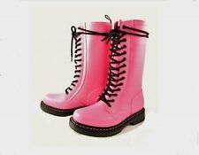 Doc Martens Hvy Duty Pink Rubber Wellington Lined 14-Eyelet Tall Boots Wms DISC