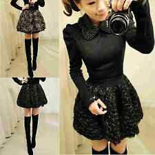 Womens Ladies Lace Flower Puff Stitching Pattern Mini Skirt Cocktail Party Skirt