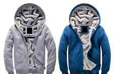 Warm Thick Hooded Jackets Mens Wool Lined Hoodies Sweaters Leisure Coats Fleeces