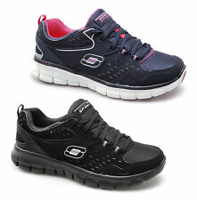 Skechers SYNERGY FRONT ROW Womens Ladies Memory Foam Lace Up Gym Active Trainers