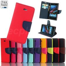 Flip Stand Magnetic Wallet Card Slot Leather Cover Case Pouch for Sony Xperia Z1