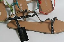 Women's Ankle T Strap Sandals bright colors with metal studs Size 7,8,9,10,11