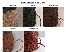 6mm Braided Bolo Cord, Leather, Premium Quality! 5 Colors!