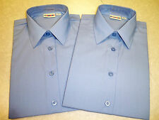 Twin Pack Girls Blue BANNER SCHOOL SHIRTS / BLOUSES - Short/Long Sleeve -  NEW.