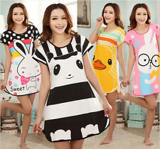 Fashion Cartoon Womens Ideal Polka Dot Sleepwear Pajamas Short Sleeve Sleepshirt