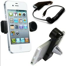 360°ROTATING IN CAR AIR VENT HOLDER+CHARGER+STYLUS FOR LATEST MOBILE PHONES