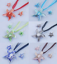 Hot Sell Starfish Strip Murano Lampwork Glass Pendant Necklace Earrings Set Gift