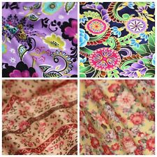 Free Shipping by the yard retro flowers printed 100% Cotton Plain Fabric 43.3""