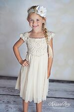 Country chic cream toddler boutique dress crochet lace flower girl birthday 2-6T