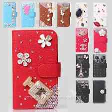 Color Bling Diamond Rose Wallet Leather Flip Case Cover for Various HTC Phone