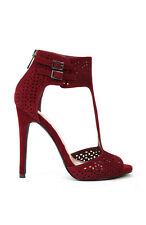 Burgundy Suede Anne Michelle Perton-22 Suede Perforated T-Strap Heel Sandal